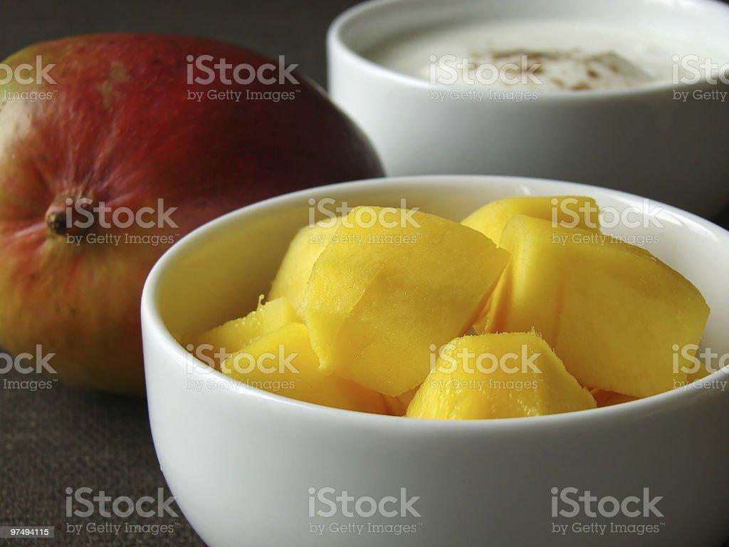 Mango and yoghurt royalty-free stock photo
