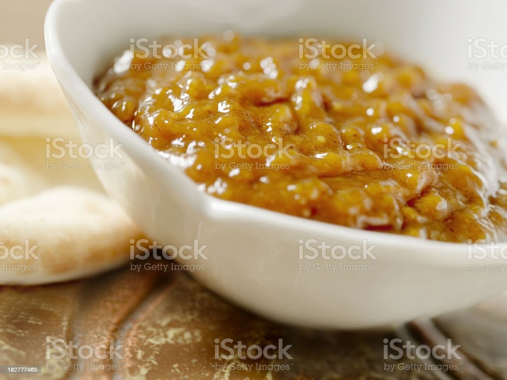 Mango Chutney with Naan Bread stock photo