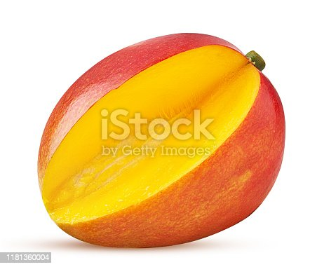 Mango exotic friut three quarters isolated on white background. Clipping Path. Full depth of field.