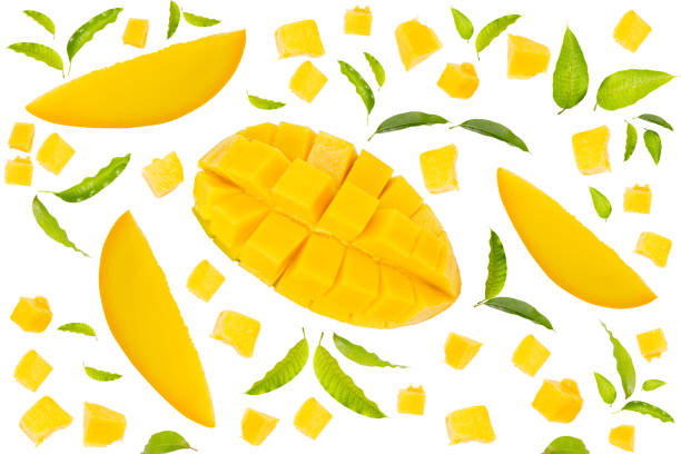 Mango fruit abstract background Mango fruit with slice cut with leaf isolated white background mango stock pictures, royalty-free photos & images