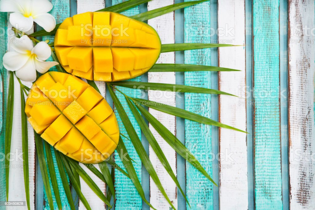 Mango fruit on a outdoor tropical background. Copy space. Top view. stock photo