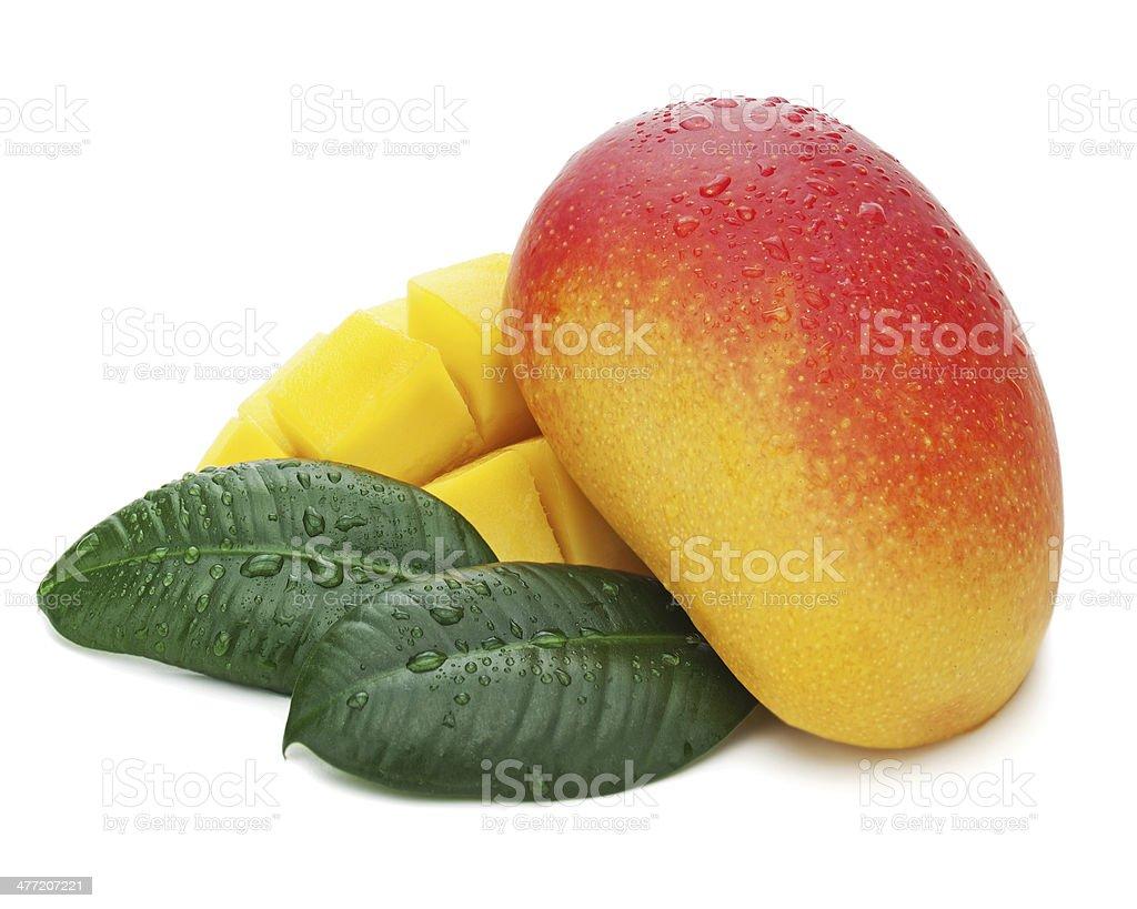 Mango fruit with green leaves isolated on white background. royalty-free stock photo