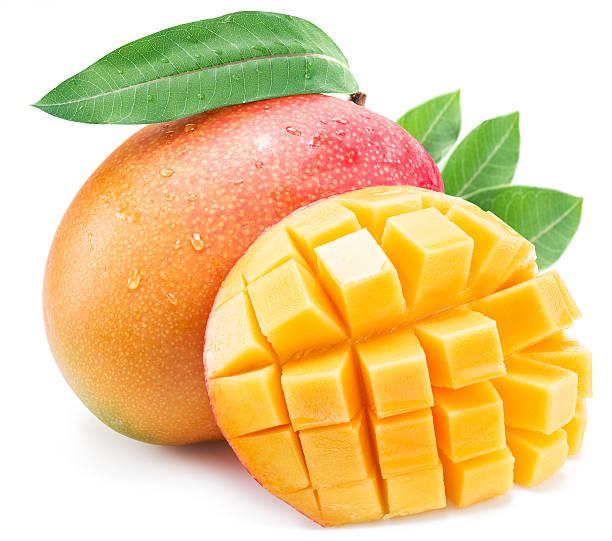 Mango fruit with leaf isolated on the white background. stock photo