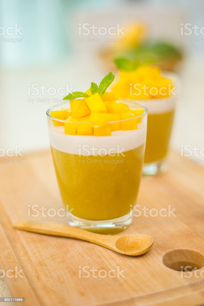 Mango Jelly dessert fruit . stock photo