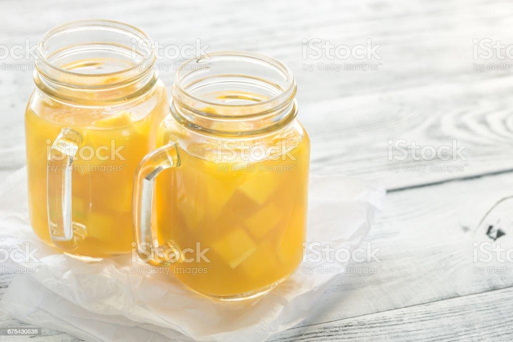 Mango suyu mason kavanoz royalty-free stock photo