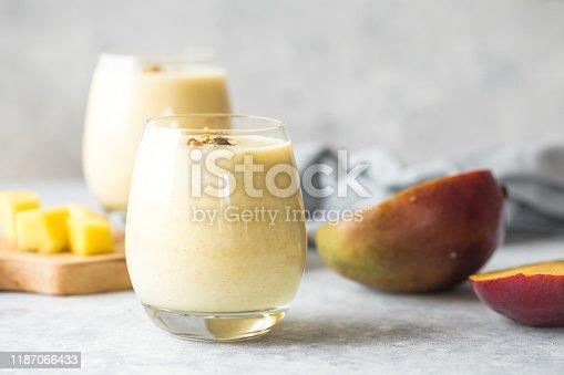Mango Lassi, yogurt or smoothie. Healthy probiotic  cold summer