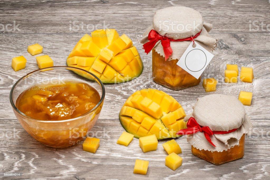 mango, mango slices, mango jam stock photo