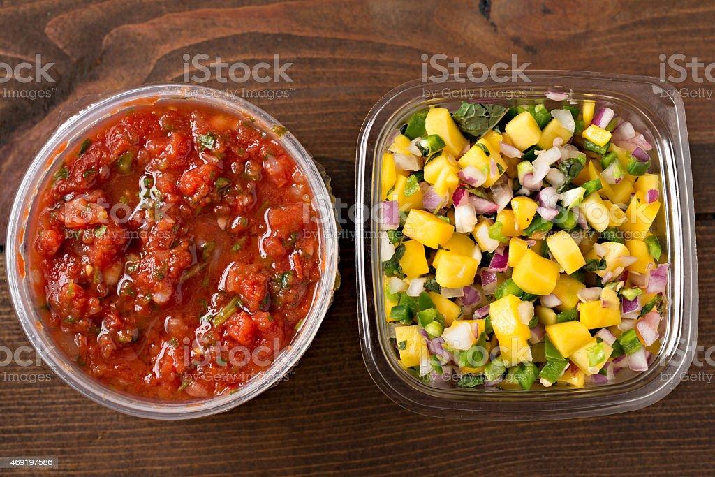 Mango Salsa And Tomato Salsa stock photo