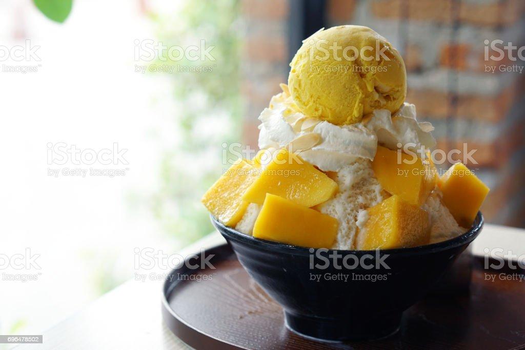Mango Rasiert Eis Auch Bekannt Als Mango Bingsu Koreanischen Dessert