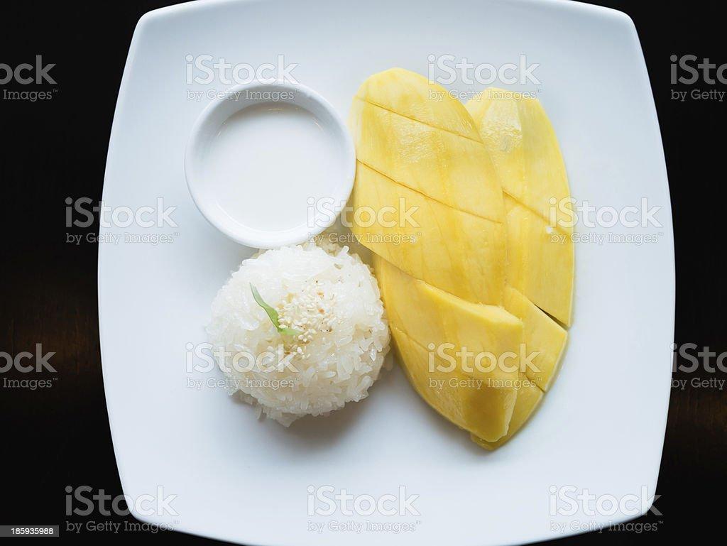 Mango sticky rice, Thai dessert stock photo