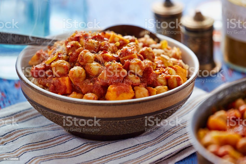 Mango sweet potato curry stock photo