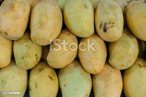 Full frame Mango tropical fruit in line on street market in Kuala Lumpur
