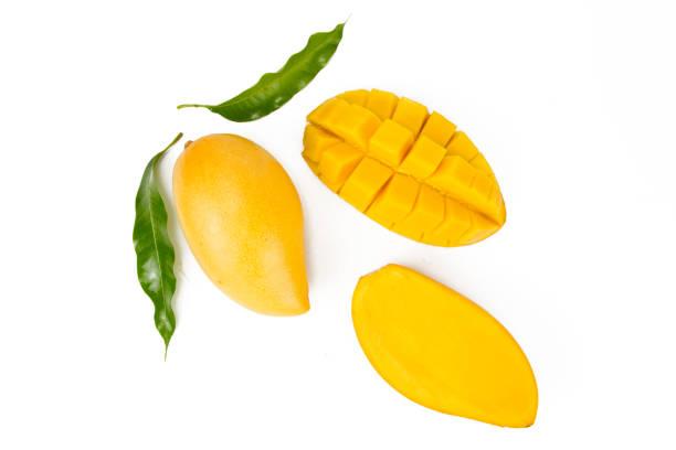 芒果葉圖案分離白色背景 - 芒果 個照片及圖片檔