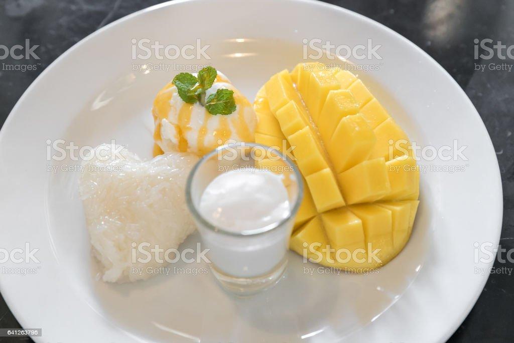 Mango with sticky rice stock photo