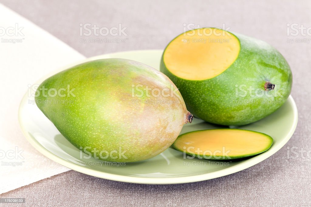 Mangoes on plate royalty-free stock photo
