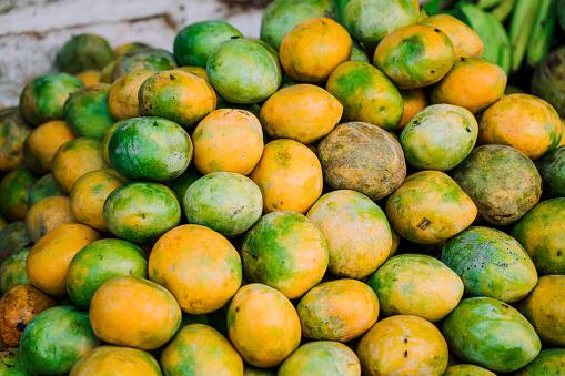 Mangos For Sale At The Market In Zanzibar Africa Stock Photo