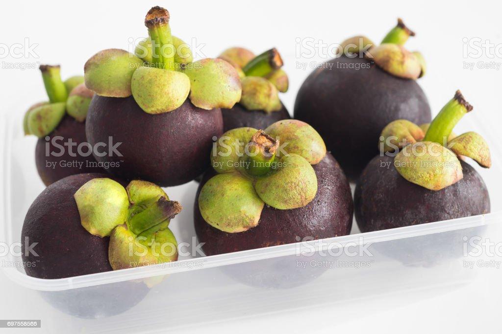Mangosteen asian tropical fruit stock photo