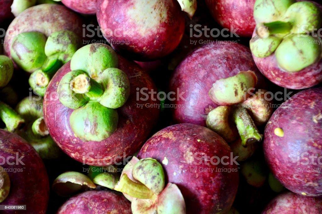 mangosteen, fruit of Thailand, Asian and Thai fruit, fruit close up background. stock photo
