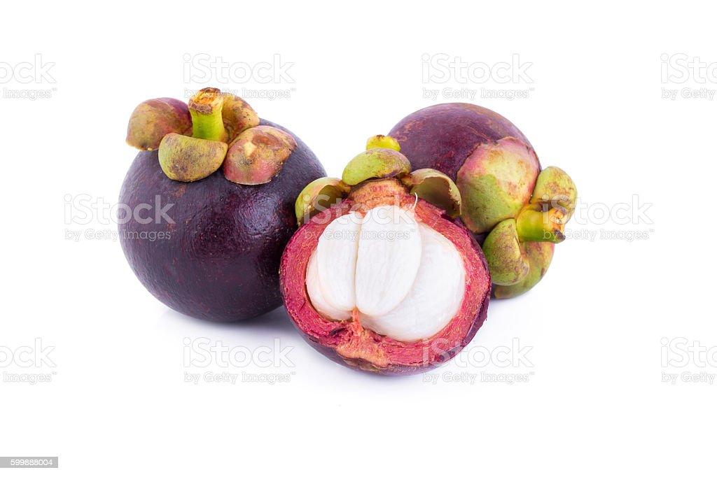 Mangosteen fruit on white background stock photo