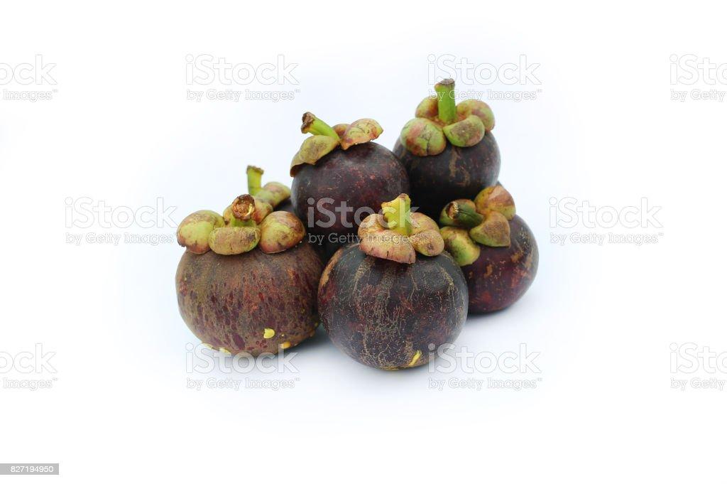 Mangosteen fruit on white background. stock photo