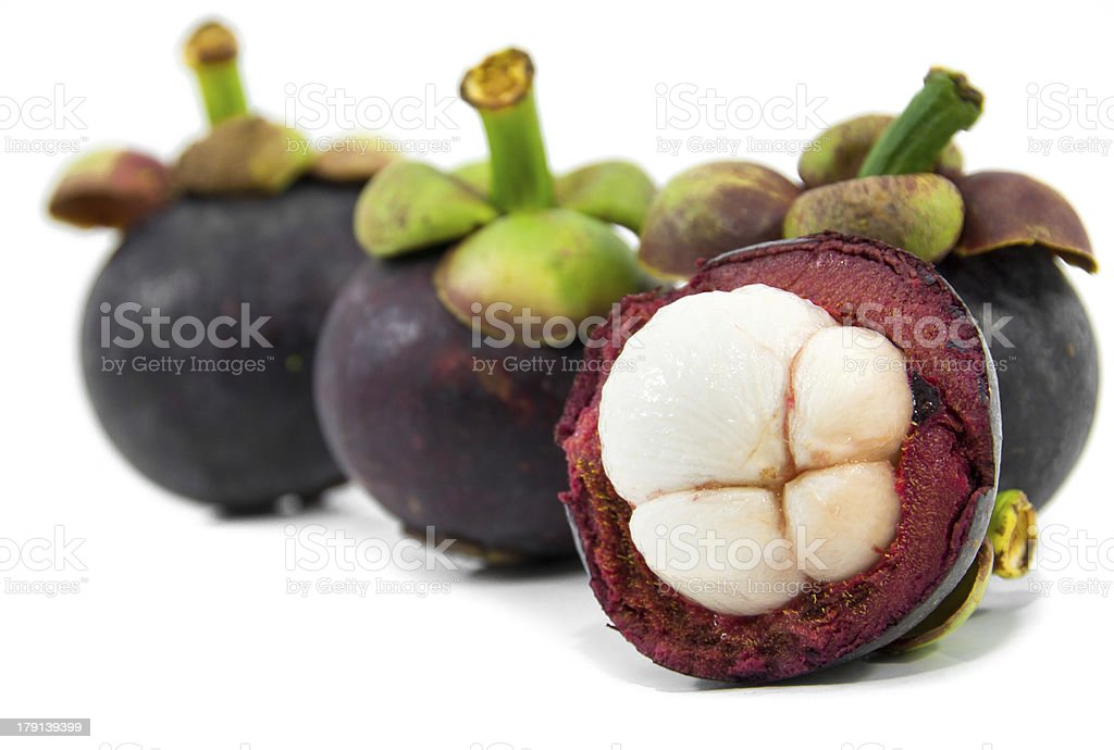 mangosteen on white background royalty-free stock photo