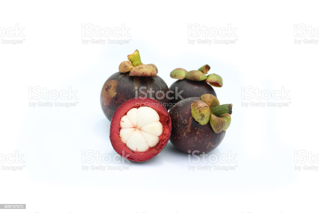 Mangosteen the queen of thai tropical fruit isolated on white background. stock photo