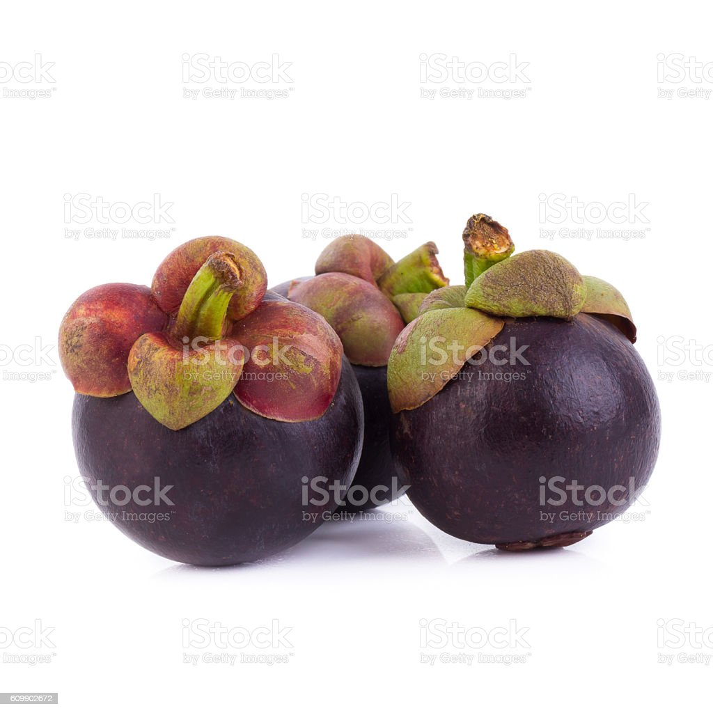 Mangosteens Queen of fruits, ripe mangosteen fruit isolated on w stock photo