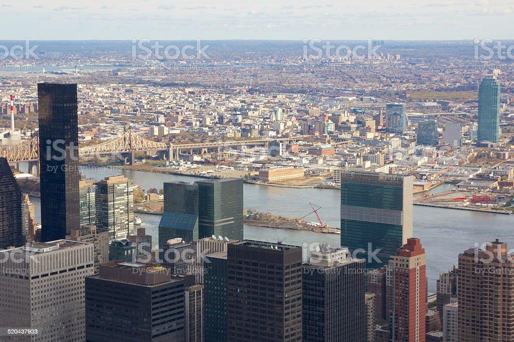 Manhattan Aerial towards Queens in Fall 2010 stock photo