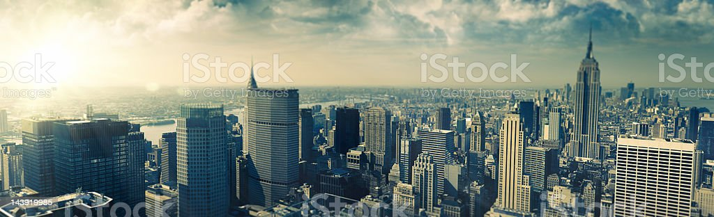 Manhattan aerial view at dusk royalty-free stock photo
