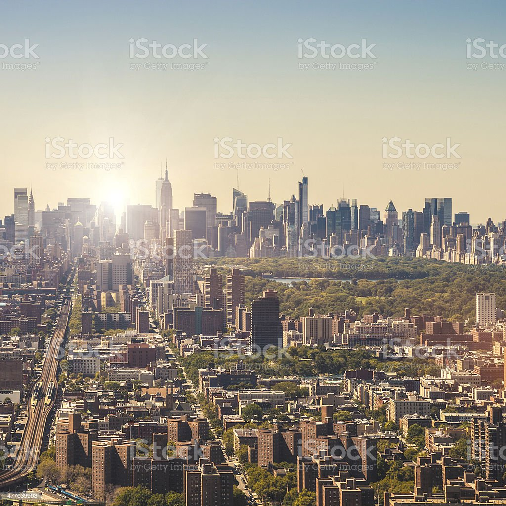 Manhattan aerial view from Harlem royalty-free stock photo