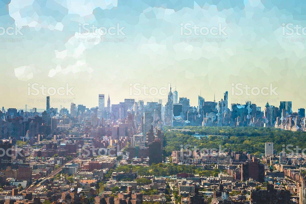 Manhattan aerial view from Harlem stock photo
