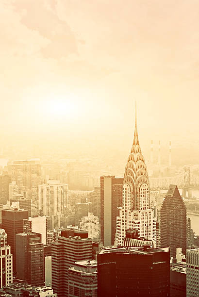 manhattan aerial view - chrysler building stock photos and pictures