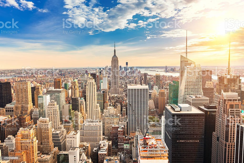 Manhattan aerial view stock photo