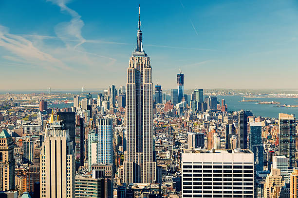 Manhattan aerial view New York City Manhattan aerial view empire state building stock pictures, royalty-free photos & images