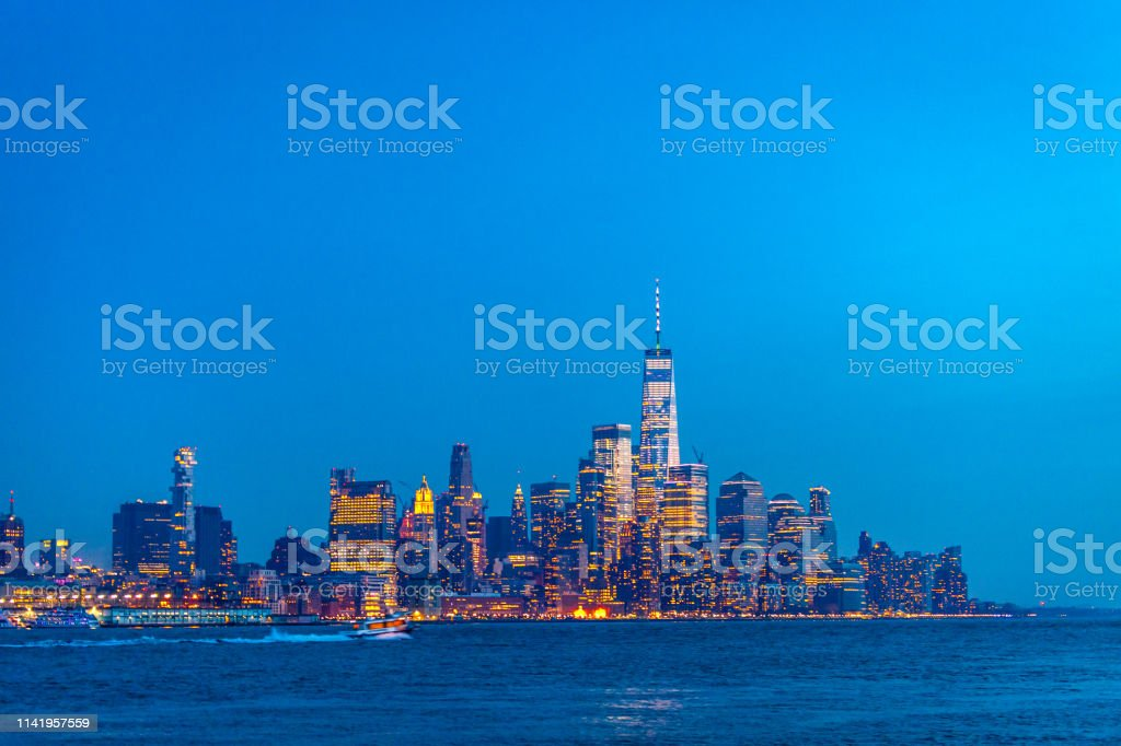 Manhattan after dark, New York City stock photo