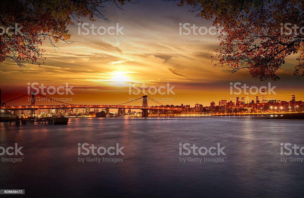 Manhattan after sunset stock photo