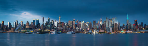 Manhattan after sunset New York City, Manhattan - New York City, Empire State Building, Cityscape, Office Building Exterior hudson river stock pictures, royalty-free photos & images