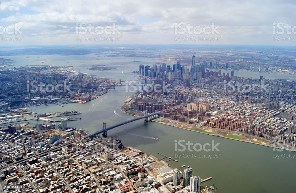 Manhattan and Brooklyn Aerial Photo stock photo