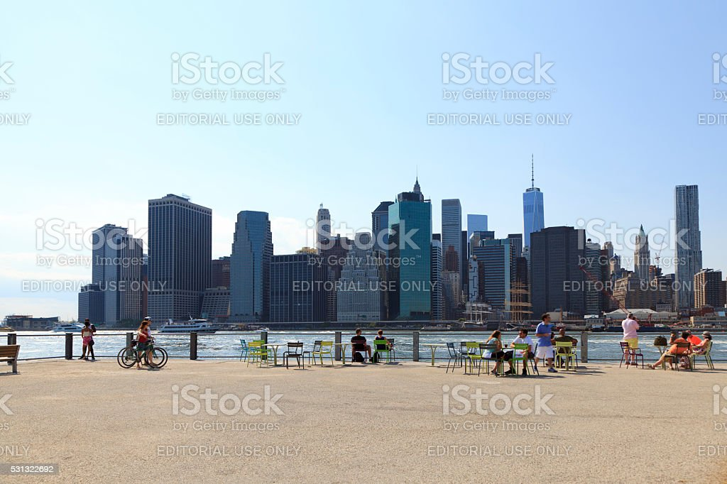 Manhattan and Brooklyn Bridge Park stock photo