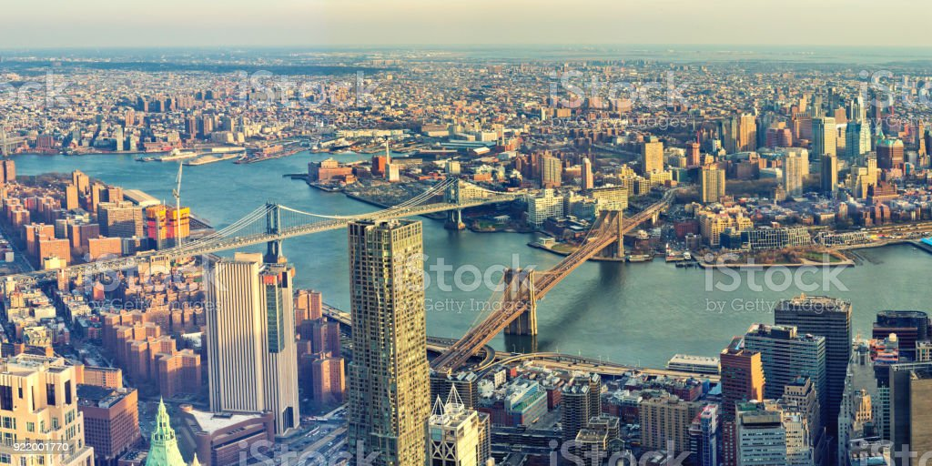 Manhattan and Brooklyn Bridges - foto stock