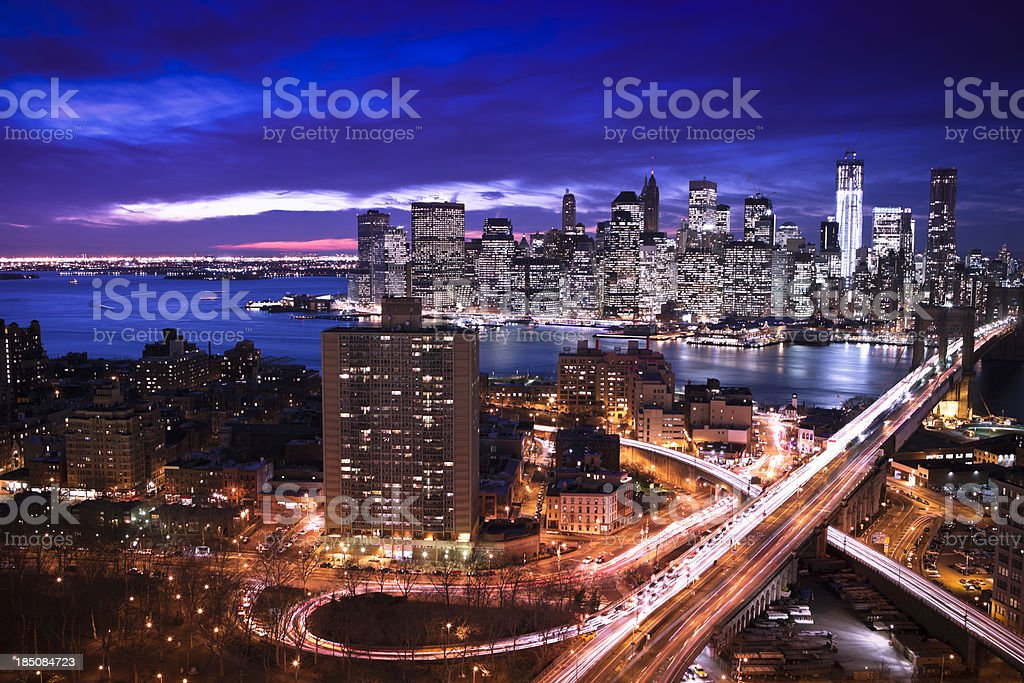 Manhattan and East River from above, NYC stock photo