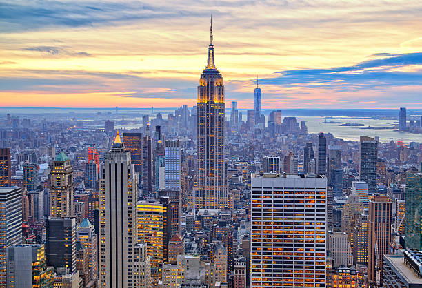 Manhattan and Empire State from above Manhattan and Empire State Building from above empire state building stock pictures, royalty-free photos & images
