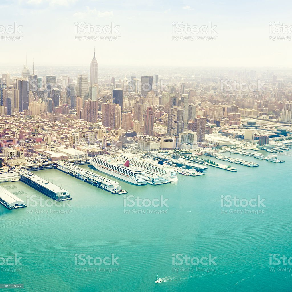 Manhattan and Ground zero aerial view royalty-free stock photo