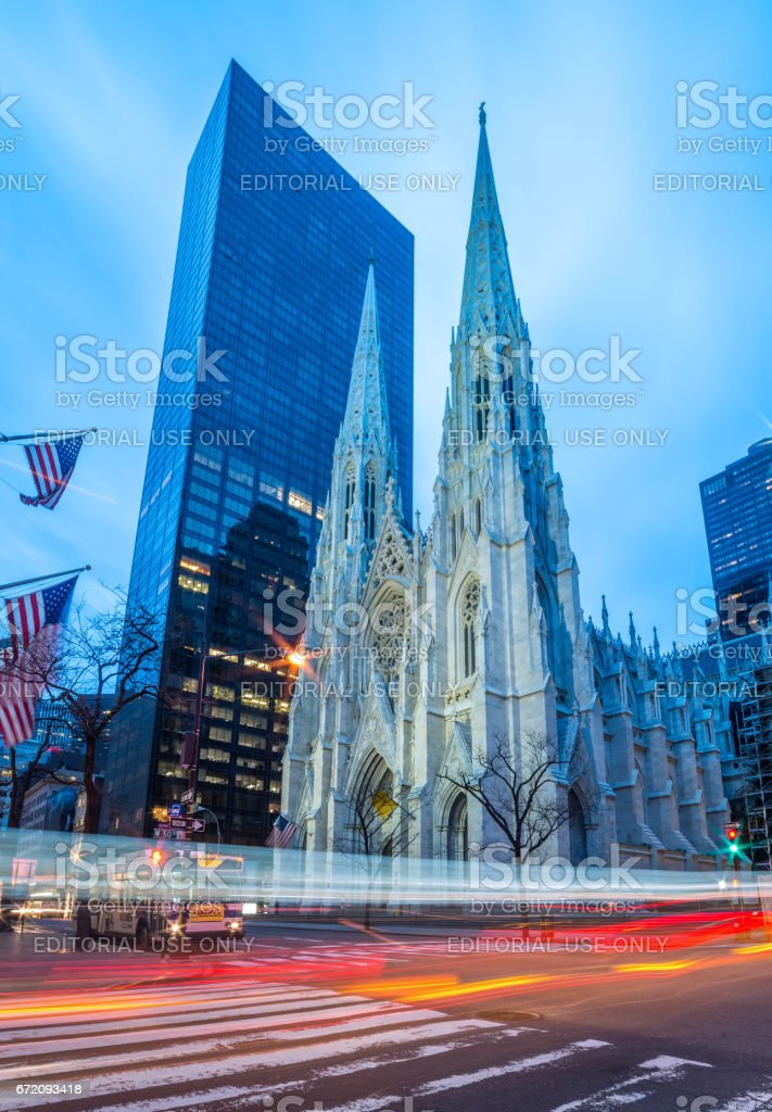 Manhattan - April 2015, New York, USA: Saint Patrick's Cathedral in the early morning stock photo