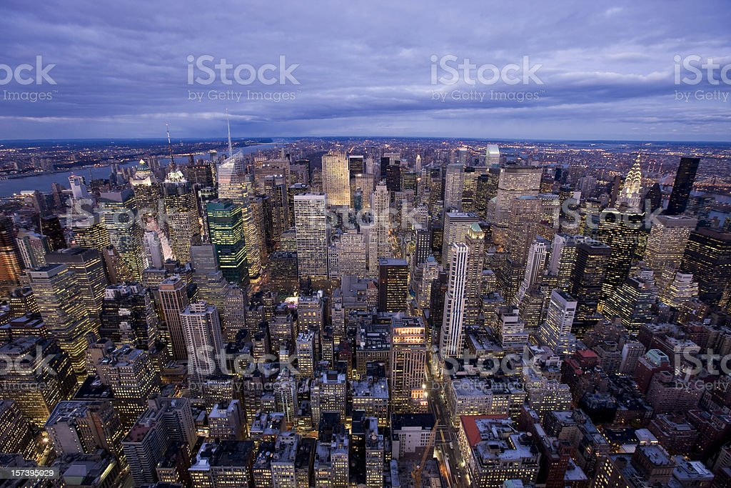 Manhattan at dusk royalty-free stock photo