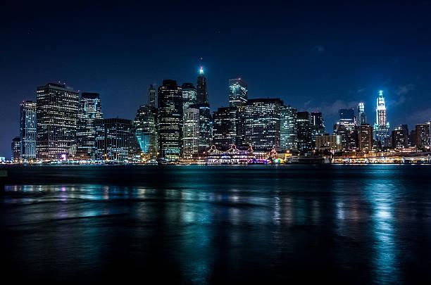 Manhattan at night in cold tones stock photo