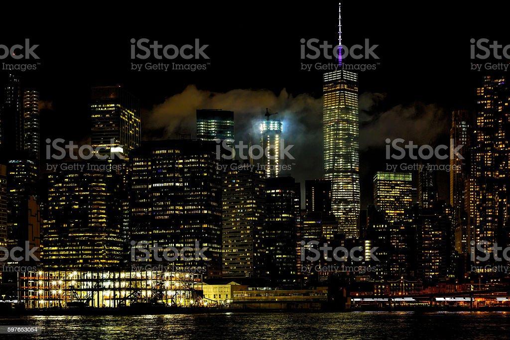 Manhattan at night, New York City, USA. stock photo