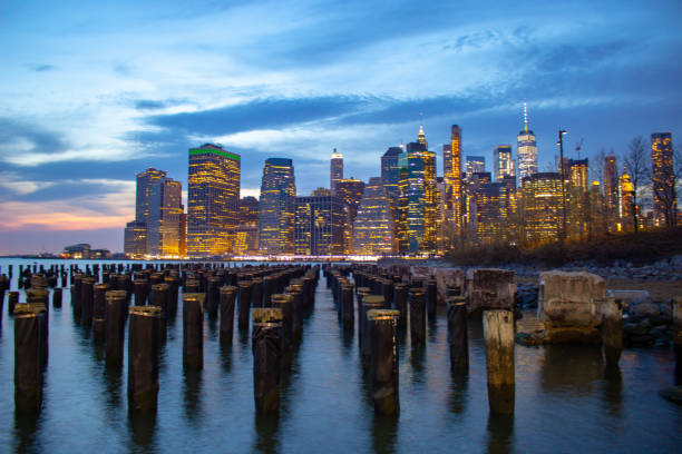 Manhattan at Sunset stock photo