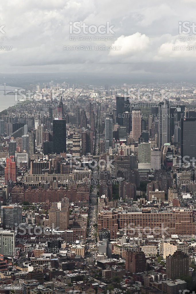 Manhattan bay from a helicopter, New York, USA. royalty-free stock photo