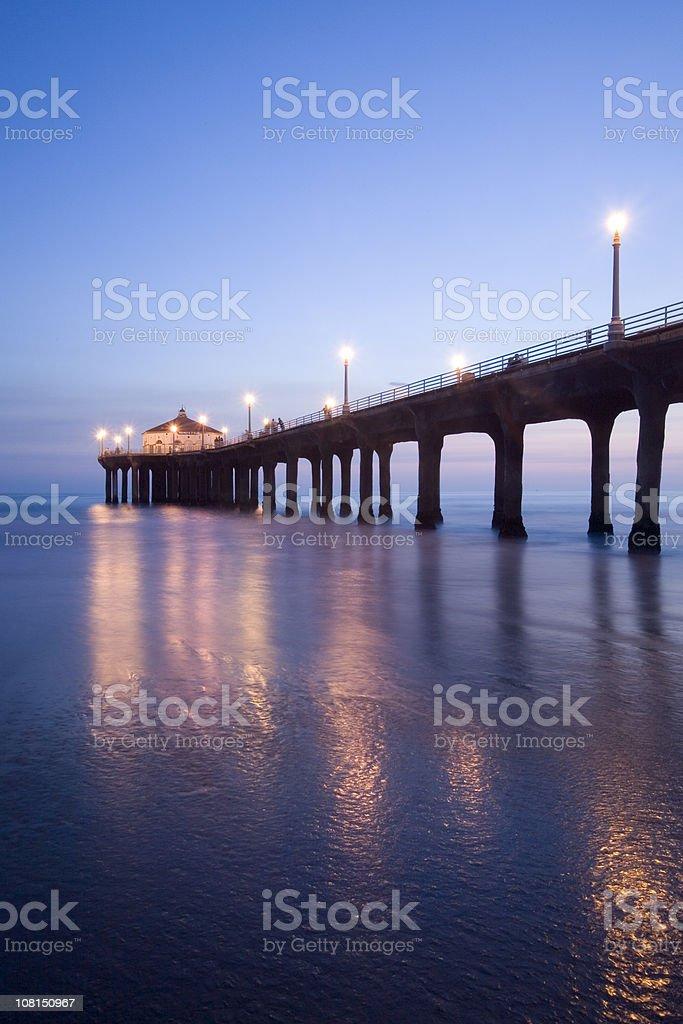 Manhattan Beach Pier at Dusk stock photo